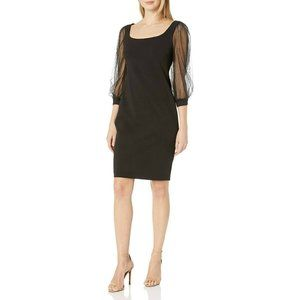 CALVIN KLEIN Sheath Evening Dress Size 10 Black 3/4 Mesh Sleeves Knee Length New